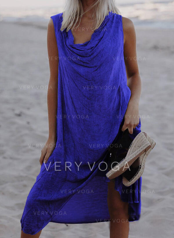 Solid Sleeveless Shift Knee Length Casual/Vacation Tank Dresses
