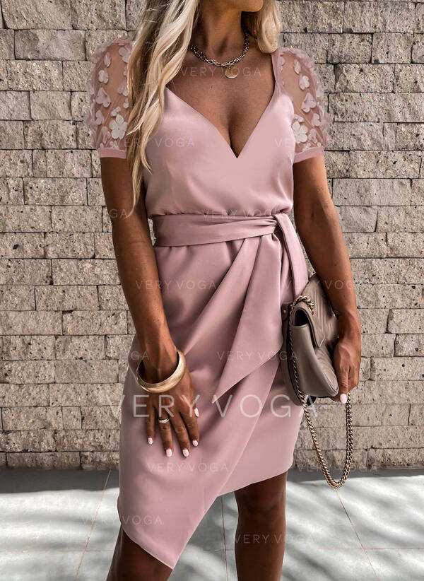 Floral/Solid Short Sleeves Sheath Above Knee Casual Dresses