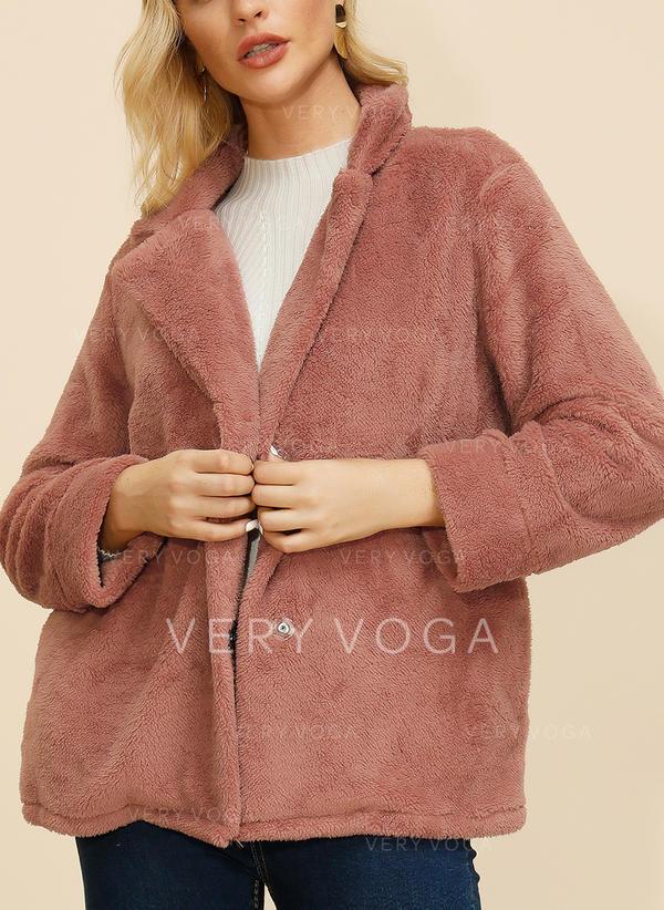 Polyester Long Sleeves Plain Faux Fur Coats