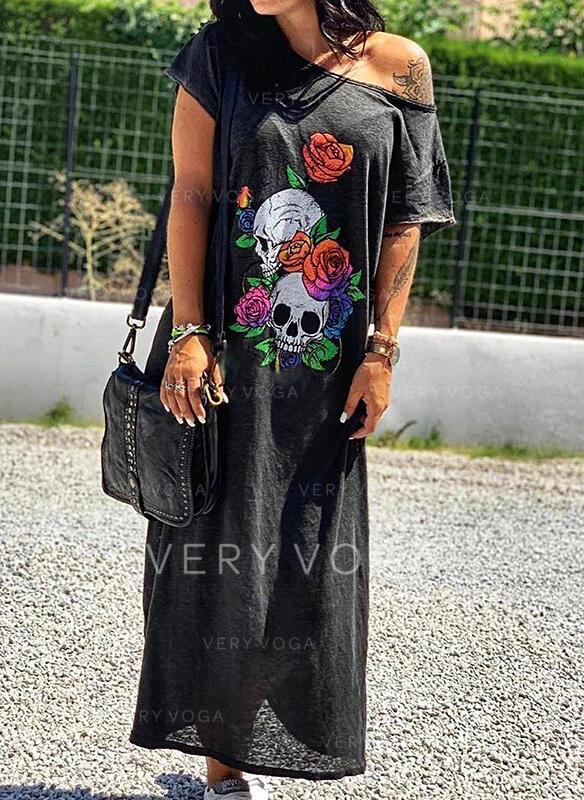 Εκτύπωση/Φλοράλ Κοντά Μανίκια Αμάνικο Μπλουζάκι Καθημερινό Μάξι Сукні