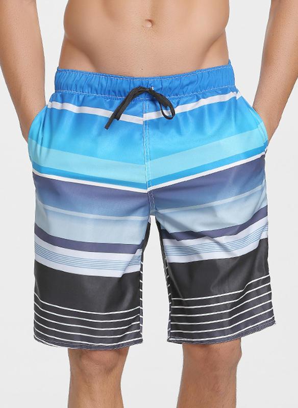 Men's Stripe Print Board Shorts Swimsuit