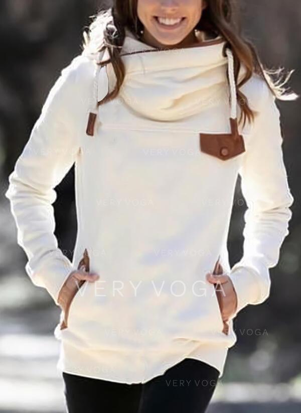 Solid Pockets Long Sleeves Hoodie