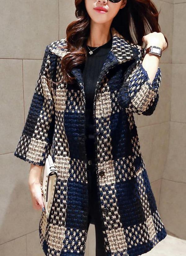 Cotton 3/4 Sleeves Color Block Woolen Coats