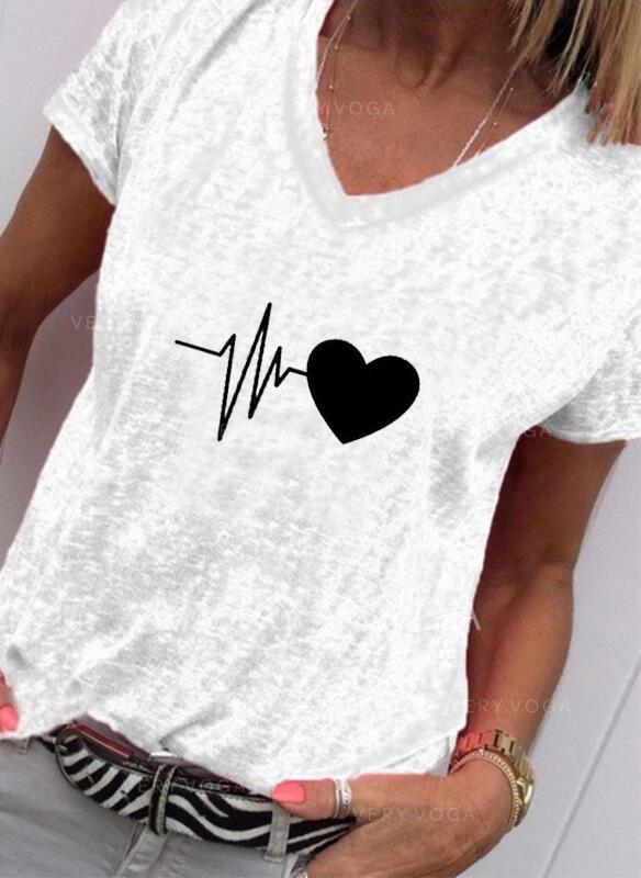 Print V-ringning Korta ärmar Fritids T-shirts