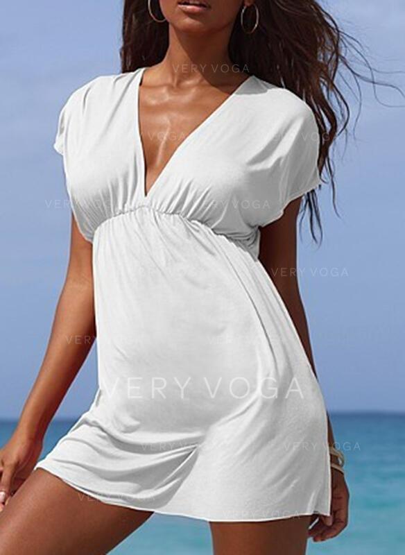 Solid Color V-Neck Elegant Fresh Cover-ups Swimsuits
