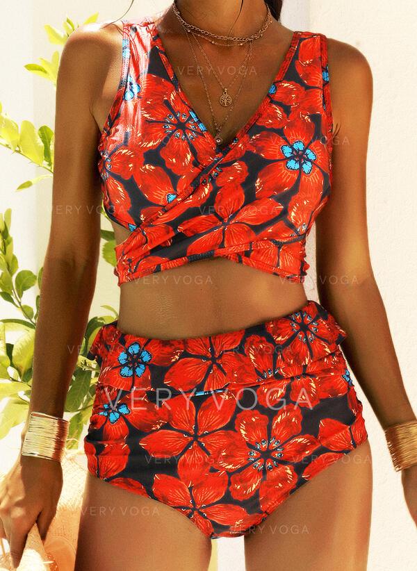Çiçekli V yaka Askısız Güzel Vintage Çekici Bikiniler Fürdőruhák