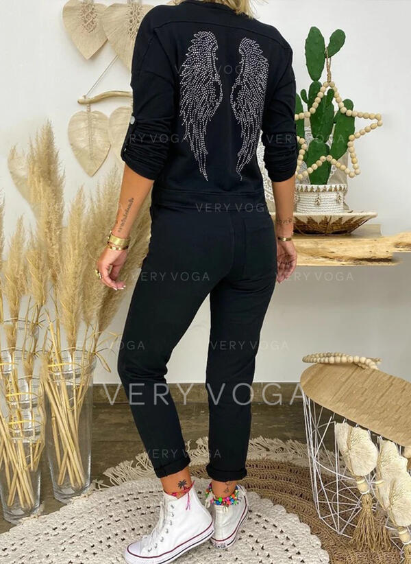 Print V-Neck Long Sleeves Casual Vacation Jumpsuit
