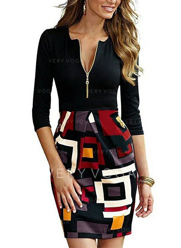 Print/Geometric Print 3/4 Sleeves Bodycon Above Knee Casual Dresses