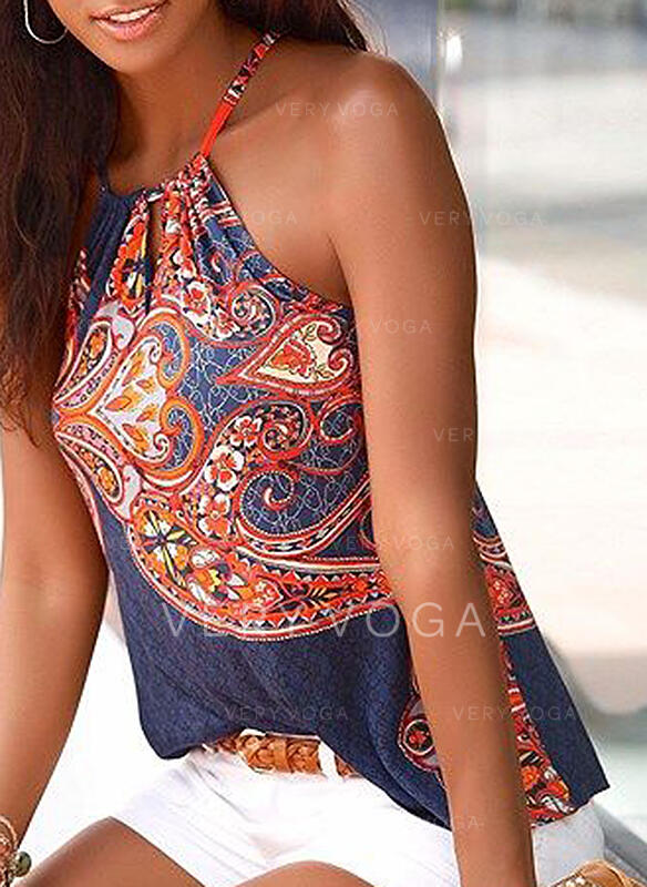 Print Round Neck Sleeveless Casual Sexy Knit Tank Tops