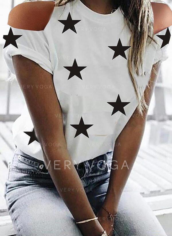 Print Kall axel Korta ärmar Fritids T-shirts