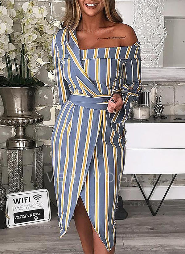 Striped Long Sleeves Sheath Asymmetrical Casual Dresses