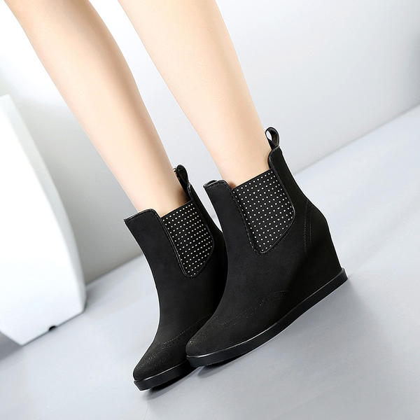 1cbc4447d714 Women s PVC Wedge Heel Boots Mid-Calf Boots Rain Boots shoes ...