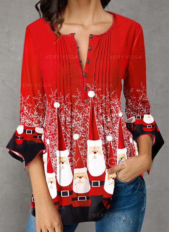 Impresión Cuello en V Mangas 3/4 Con Botones Casual Navidad Blusas