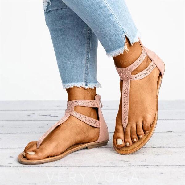 Mulheres PU Sem salto Sandálias Peep toe com Zíper Cor sólida sapatos