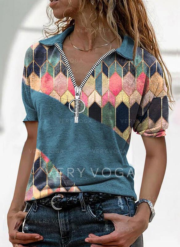 Druk Geometryczny Lapel Krótkie rękawy T-shirty
