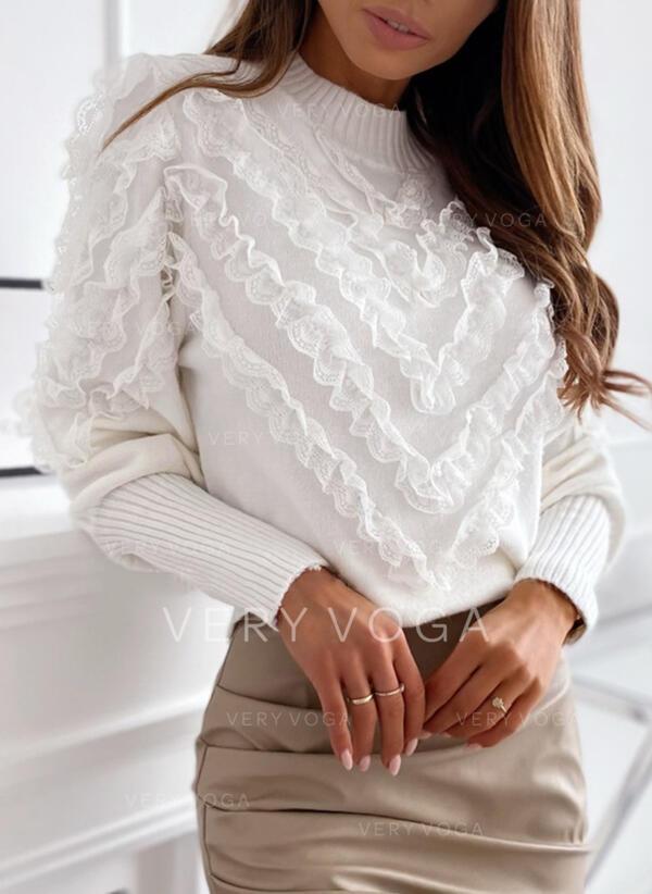 Jednolity Koronka Terített nyak Hétköznapokra πουλόβερ