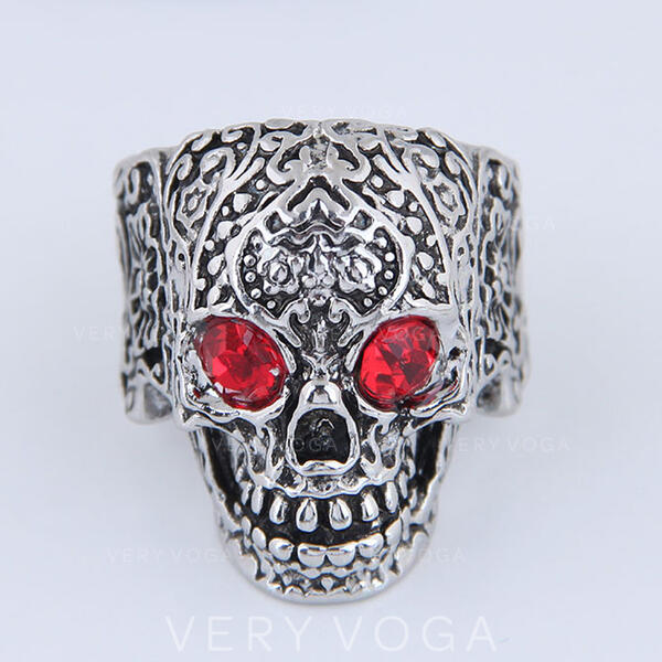 Skull Halloween Alloy With Rhinestones Rings