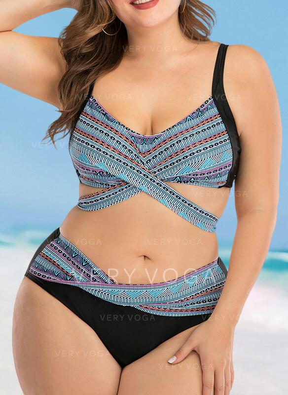 High Waist Print Strap Sexy Plus Size Bikinis Swimsuits