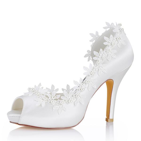 Femmes Soie comme du satin Talon stiletto À bout ouvert Escarpins Sandales avec Couture dentelle