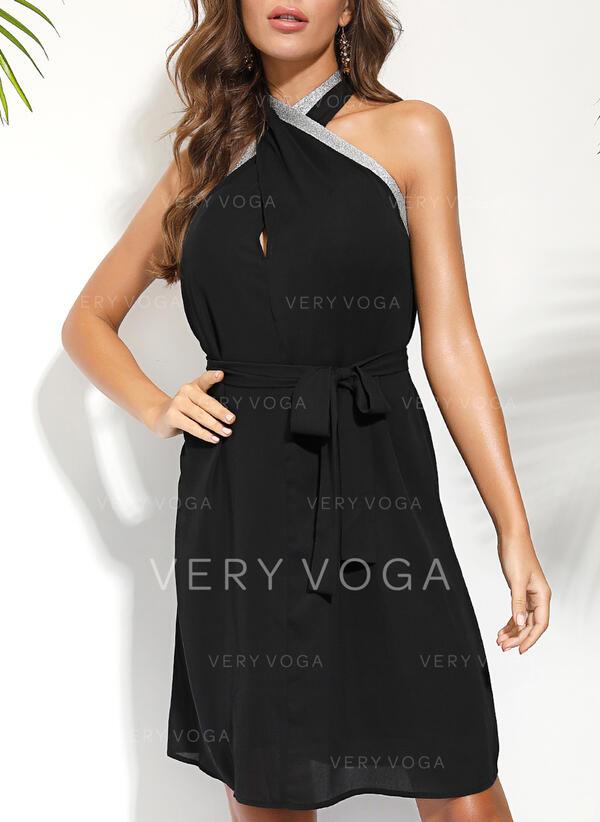 Solid Sleeveless Sheath Party/Elegant Midi Dresses