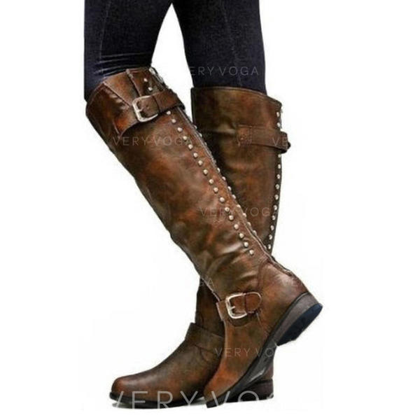 Női Műbőr Alacsony sarok Csizma -Val Cipzár cipő