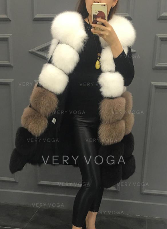 Faux Fur Sleeveless Color Block Vest