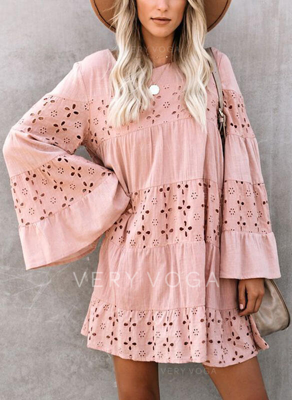 Lace/Solid Long Sleeves/Flare Sleeves Shift Above Knee Casual/Elegant Tunic Dresses