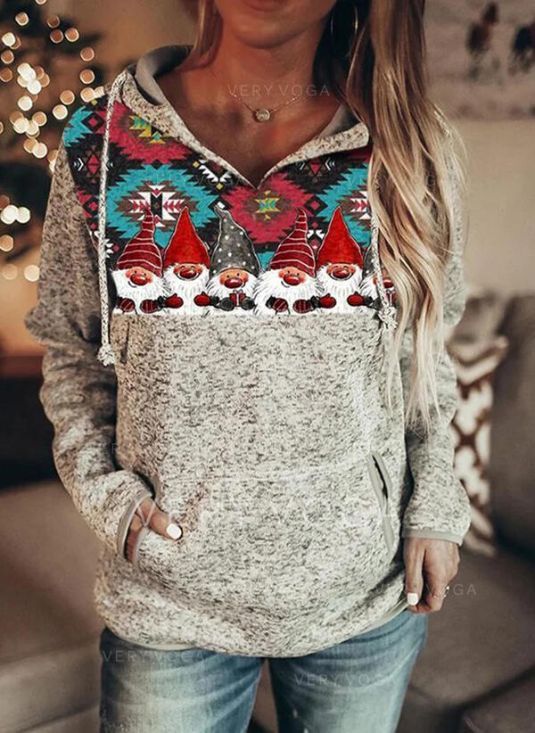 Друк Кишені Довгі рукави Різдвяні светри