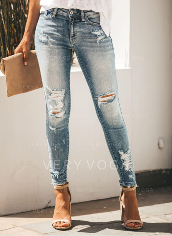 Ripped Long Long Skinny Denim Pants