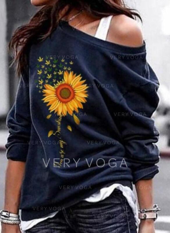 Print Sunflower Print One Shoulder Long Sleeves Sweatshirt