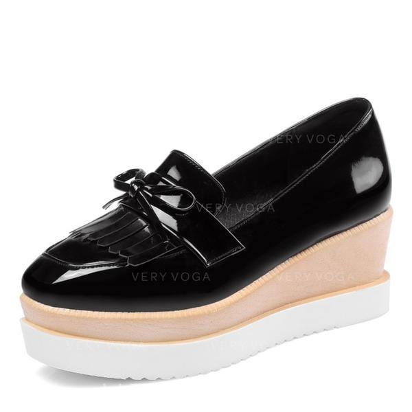 Femmes Similicuir Talon compensé Plateforme Compensée avec Tassel chaussures