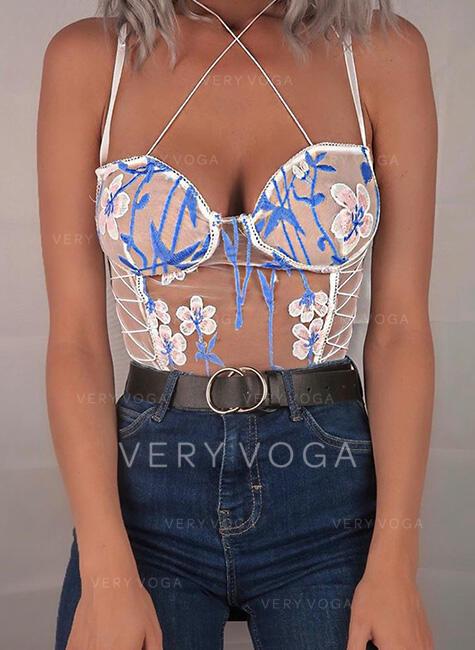 Polyester Embroidery Floral Spaghetti Strap One Piece V Neck Teddy