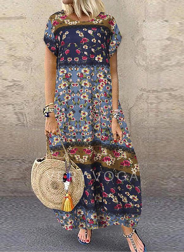 Lace/Print/Floral Short Sleeves Shift T-shirt Casual/Vacation Maxi Dresses