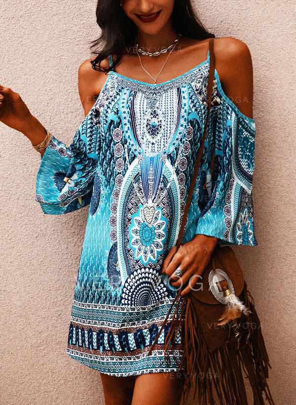 Print Long Sleeves Shift Above Knee Casual/Boho/Vacation Tunic Dresses