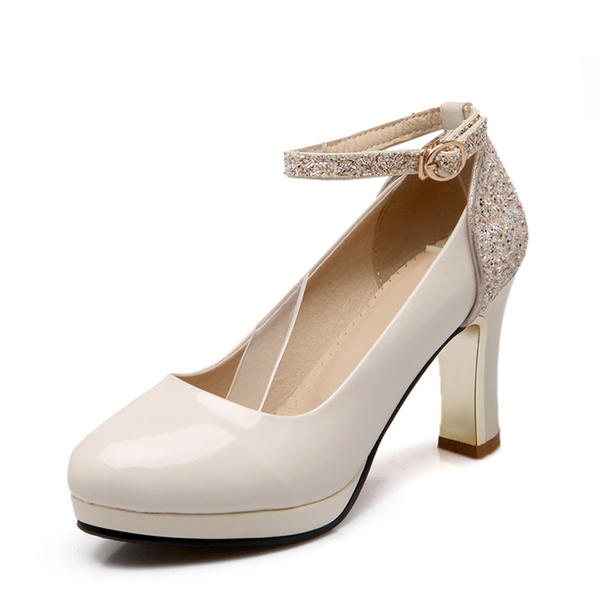 Women's Leatherette Chunky Heel Pumps Closed Toe With Sparkling Glitter Buckle shoes