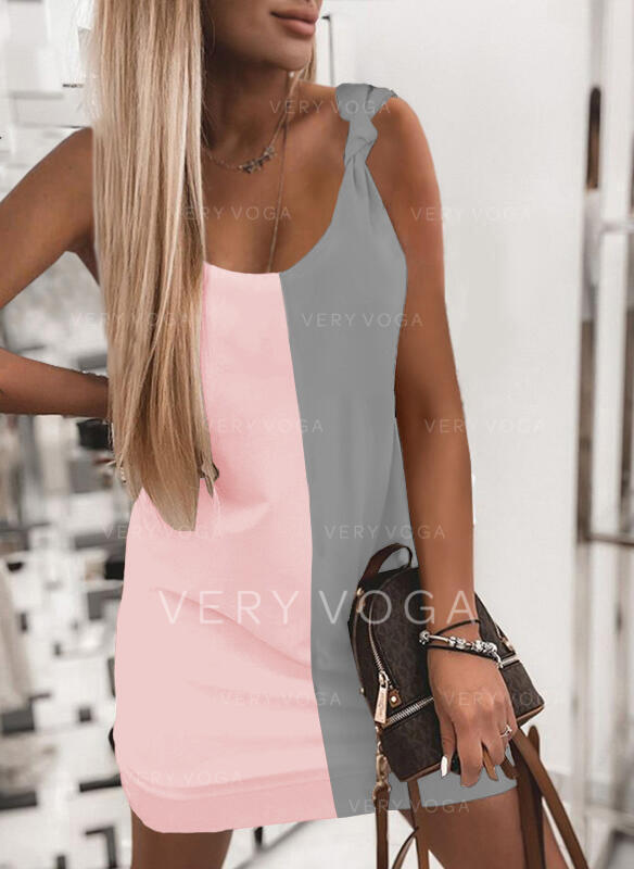 Color Block Sleeveless Shift Above Knee Casual Tank Dresses