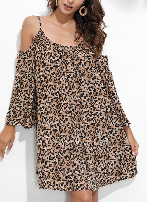 Leopard Dlouhé rukávy/Rukáv s Odhalenými Rameny Splývavé Nad kolena Neformální/Dovolená Šaty