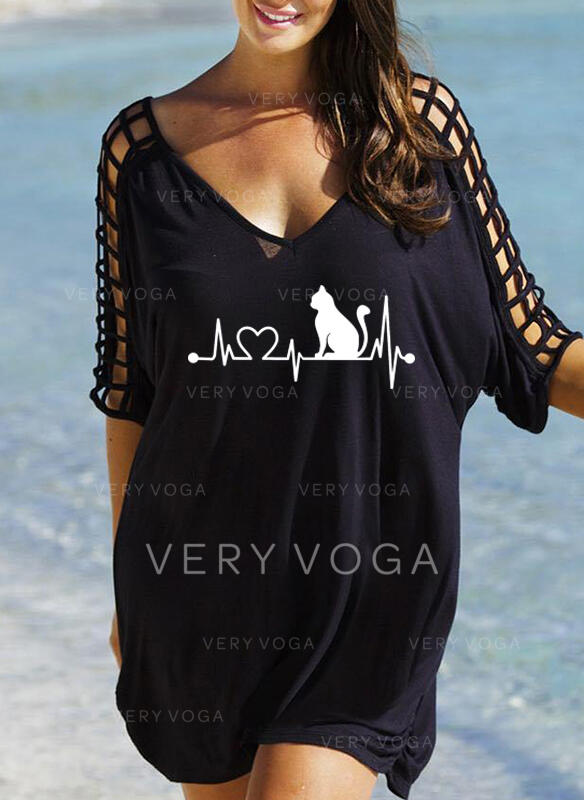 Animal Print 3/4 Sleeves Shift Above Knee Casual Dresses
