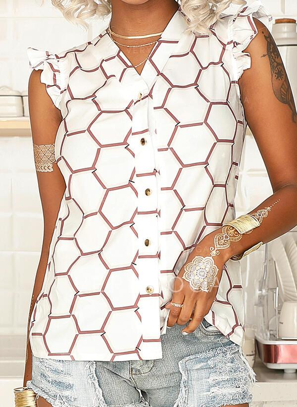 Geometryczny Dekolt w kształcie litery V Rękawy z kapturkami Zapięcie na guzik Casual Bluski koszulowe