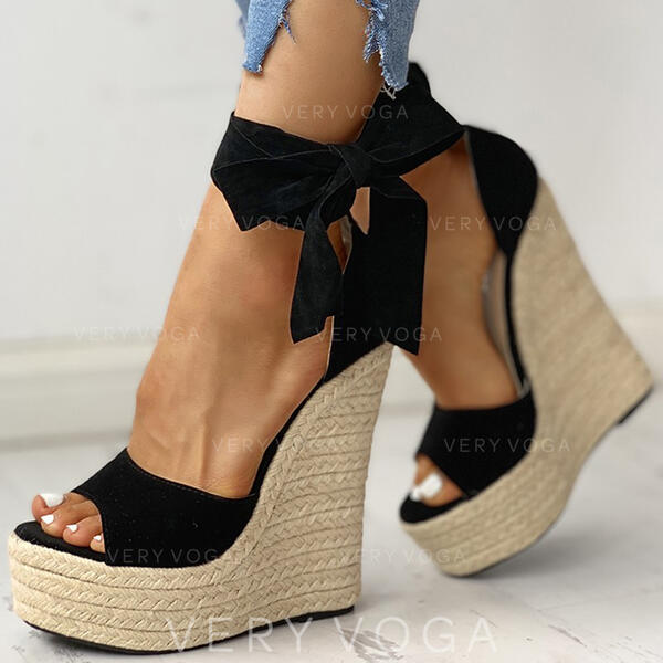 Women's PU Wedge Heel Sandals Wedges Peep Toe With Lace-up shoes (087289505)