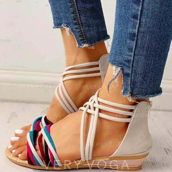 Women's Suede Flat Heel Sandals Flats Peep Toe With Zipper shoes