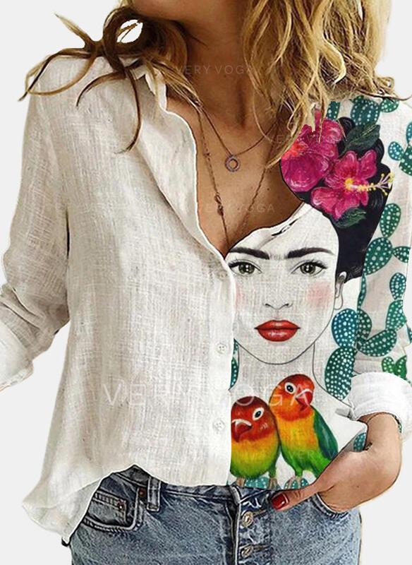 Распечатать Цветочный животных отворот Длинные рукова Повседневная Блузы