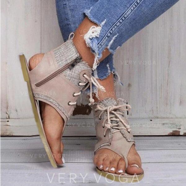 Femmes Toile Talon plat Chaussures plates avec Zip Ouvertes chaussures