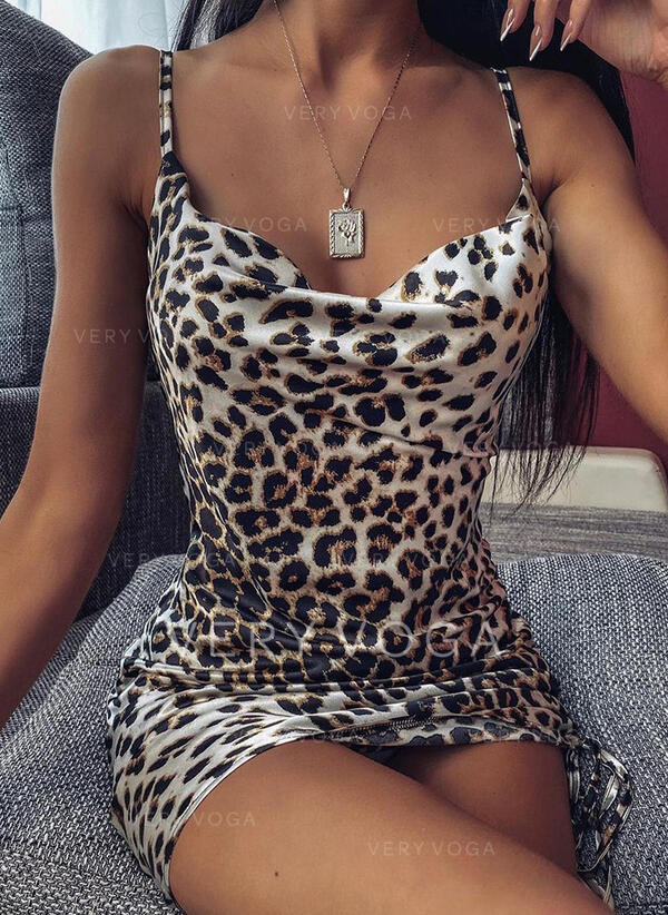 Leopard Sleeveless Bodycon Above Knee Sexy Slip Dresses
