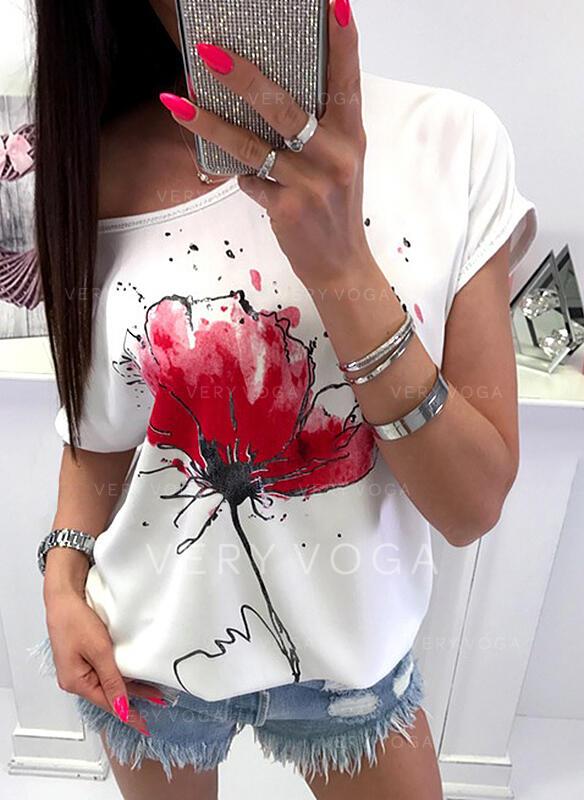 Virágos Kerek nyak Rövidujjú Hétköznapokra Μπλουζάκια