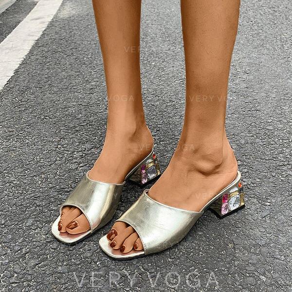 Mulheres PU Salto robusto Sandálias Peep toe Chinelos com Strass sapatos