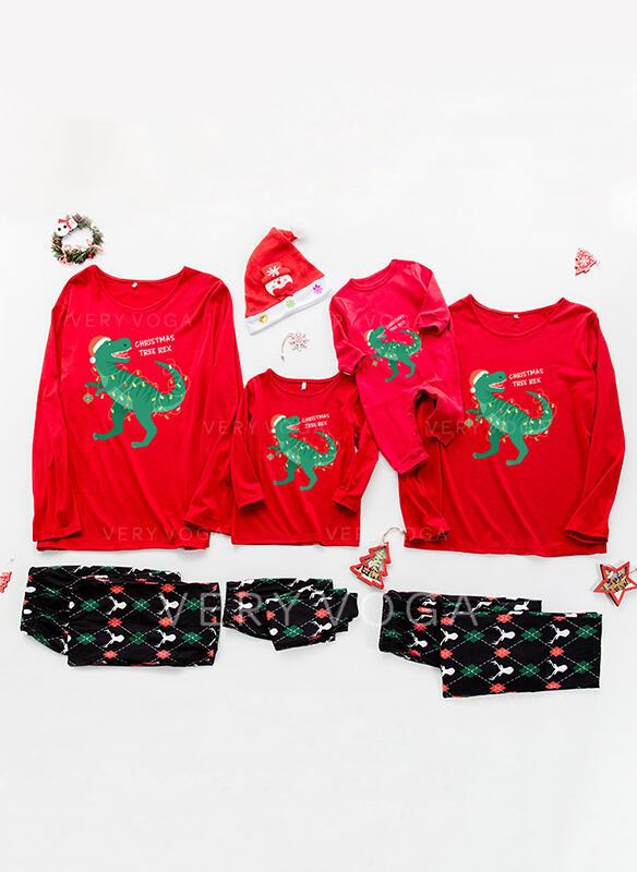 Mektup Karikatür Baskı Aile Eşleşen Noel Pijamaları