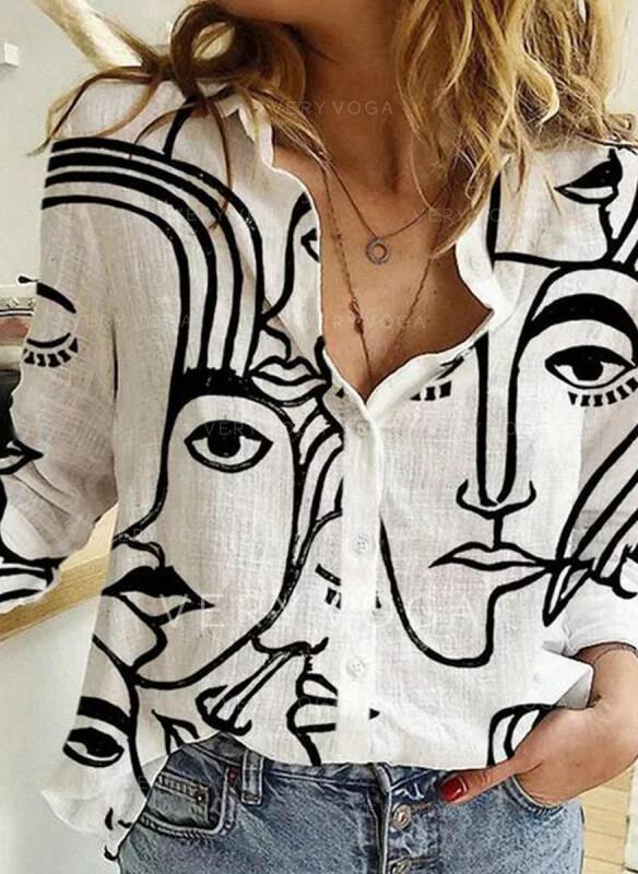 Impresión Solapa Manga Larga Con Botones Casual Blusas