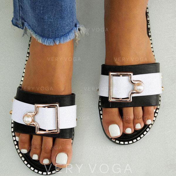 Femmes PVC Talon plat Sandales À bout ouvert Chaussons avec Boucle chaussures