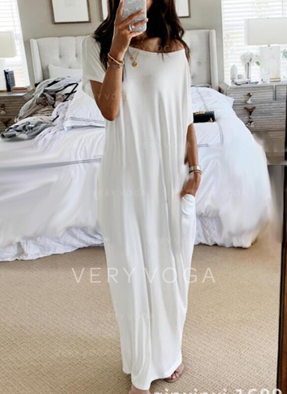 Solid Short Sleeves Shift Casual Maxi Dresses